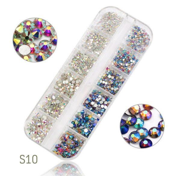 1440 dílná sada křišťálových kamínků, 2 barvách, 6 různých velikostí S10